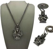 Pendant Cuban,Box Chain Necklace Egyptian Anubis Hematite God