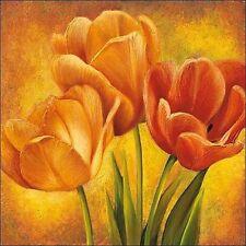 DAVID Pedersen:Naranja Tulipanes II bastidor de cuña - Imagen Lienzo Flores