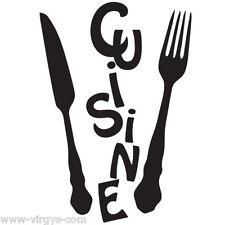 """Sticker Mural Texte """"Cuisine"""" Fourchette, Couteau, 20x15cm à 120x80cm (CUIS055)"""
