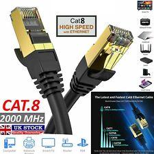 RJ45 CAT8 Network Ethernet Cables 40Gbps Gigabit LAN Patch Cord Black/White Lot