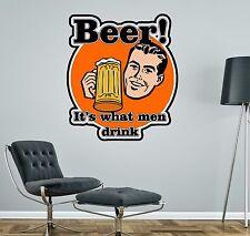 Bière hommes papa football mur autocollant voiture décalque art 4 tailles cuisine garage man cave