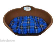 Heavy Duty Marrone Pet letto con Blue Tartan Cuscino UK Fatto Cane o Gatto Cesto