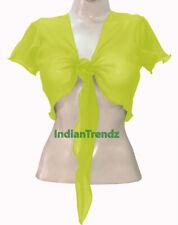 Yellow Green - Belly Dance Tie Top Flair Wrap Choli Gypsy Haut Orientale Blouse