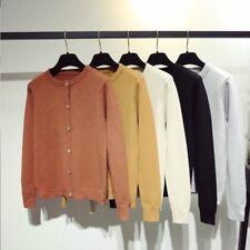 Women Cardigan Knitted Sweater Coat Shirt Blouse Crew Neck Long Sleeve Outwear