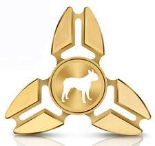 Fidget Spinner Tri-Spinner Aluminum Metal Boston Terrier Dog