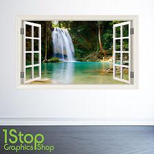 Adesivo Parete CASCATA NELLA GIUNGLA finestra a colori-salotto camera da letto Wall Art w34