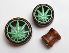 Cannabis Marijuana Dope Leaf Plant Logo Wooden Tunnel Ear Plugs Expander Earring