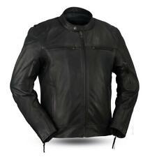 Mens Black Leather Vented Sporty Biker Jacket