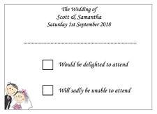 10 Handmade Personalised Wedding RSVP Cards