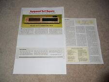 Marantz CD-73 CD Review, 1983, One of the first! 3 pg, Full Test