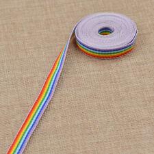 3m Multi Striped Ribbon Polyester Rainbow printed Woven Grosgrain Crafts Decor