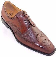 Calzoleria Toscana 7181 Calfskin & Deerskin Wingtip Mahogany Leather Dress Shoes