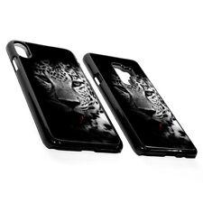 Wild Cat Leopard Face Blue Eyes Animal Dark Black Hard Phone Case Cover Plastic