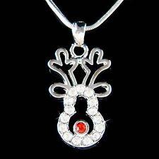 w Swarovski Crystal Xmas ~Reindeer~ Deer Holiday Pendant Girls Jewelry Necklace