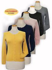 Maglietta DONNA T-shirt ragazza maglione Cardigan manica lunga bottoni SLIM