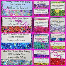 CHUNKY GLITTER HEX BLEND~U Choose~Nail Art•Acrylic•Gel•Body Art•Festival•Crafts