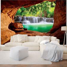 VLIES TAPETEN FOTOTAPETE Natur Grotte Pflanzen Braun Poster Wasser 10258 VE