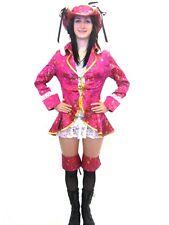 Sexy Pink & White Pirate Dress Halloween Costume Fancy Dress Theme Party 4 Pcs