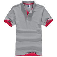 Mens Short Sleeve Polo Shirt Plain Top Designer Style Fit T-Shirt Grey Pink