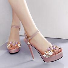 sandali stiletto 12 cm rosa fiori spillo plateau simil pelle eleganti 1428 47fb2babefc