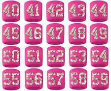 #40-59 Number Sweatband Wristband Football Baseball Basketball Pink Money Print