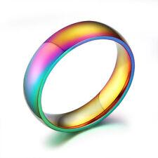 Size 5-13 Men Women's Wedding Ring 6MM Mystic Rainbow Titanium Steel Party Band