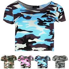 Womens Crew Neck Ladies Short Sleeve Military Army Printed Camoflauge Crop Tops