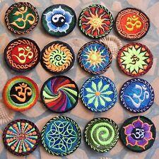 AUFNÄHER PATCH goa psy spiral rainbow UV indien inde nepal yoga esoterik om ॐ