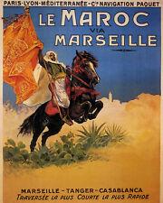 Morocco Man Horse Maroc Marseille France Travel 16X20 Vintage Poster FREE SH
