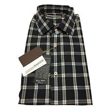 XACUS camisa de hombre cuadros marrón oscuro/negro 100% algodón tejido THOMAS