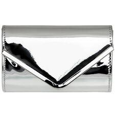 CASPAR TA376 stylische Hochglanz Damen Lack Envelope Clutch Tasche Abendtasche