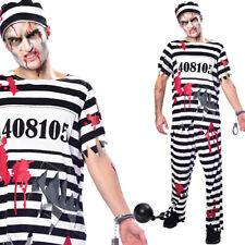 Mens Zombie Prisoner Costume Fancy Dress Robber Halloween Criminal M L XL Amscan