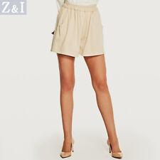 Elegantes refinada pantalones de mujer corto suave leer verano beige 6149
