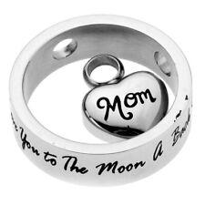 Coeur je t'aime à la lune et à l'arrière pendentif urne en acier