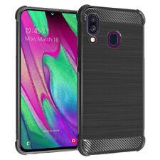 """Etui Housse Coque Silicone Gel Fibre de Carbone Brossé Samsung Galaxy A40 5.9"""""""