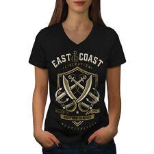 East Coast United Vintage Women V-Neck T-shirt NEW | Wellcoda