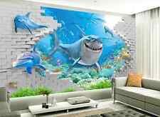 3D Requin Fond Mer Photo Papier Peint en Autocollant Murale Plafond Chambre Art