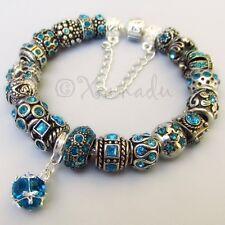 Genuine Sterling Silver Pandora Bracelet w December Birthstone Blue Zircon Beads