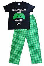 Keep Calm and Game On Long Pyjamas 7 to 14 Years COMPUTER GAME Pajama Grn Check