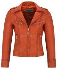 RIDER Ladies Leather Jacket Orange Biker Motorcycle Style Soft Real Napa 9823