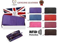 LADIES DESIGNER PURSE LEATHER WALLET RFID SAFE GENUINE CREDIT CARD HOLDER PURSE