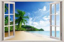 Adesivi Murali Finestra Effetto 3D spiaggia tropicale decorazioni murali 40