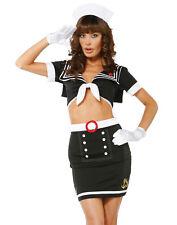 Rockabilly Pinup Sailor Navy Girl High Waisted Pencil Skirt Womens Costume XS-L