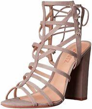 Schutz Mirabella Taupe Nude Coral High Heel Platform Sandal Fringe Detail Pumps