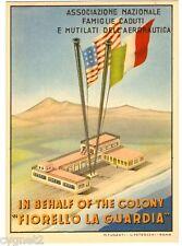 POSTCARD ITALIAN-US AVIATION FIORELLO LA GUARDIA COLONY