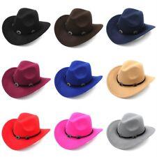 Unisex Western Cowboy Hat Wool Blend Wide Brim Cowgirl Jazz Cap 9 Colors CEMC