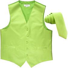 "New Men's Formal Tuxedo Vest Waistcoat_2.5"" skinny Necktie solid lime green"