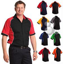 Mens Contrast Twill Shirt Size  S M L XL 2XL 3XL 4XL 5XL Bowling