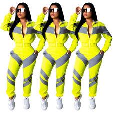 Women Long Sleeves Zipper Colors Patchwork Casual Club Sports Jumpsuit Set 2pc