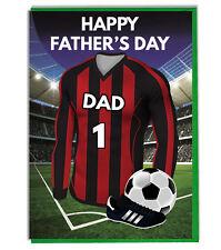 Día Del Padre Fútbol Tarjeta para un Papá - Rojo, Blanco y Negro Equipo Camisa /
